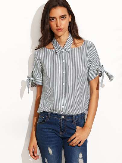 Navy Stripe Cut Out Tie Cuff Short Sleeve Blouse