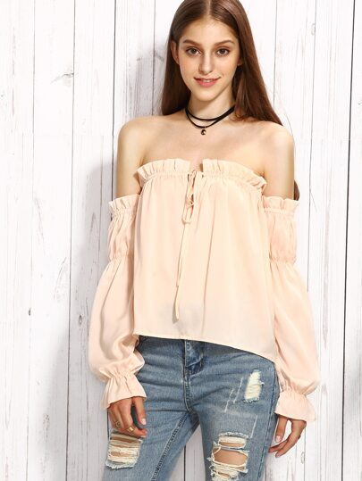 Light Pink Tie Off The Shoulder Long Sleeve Blouse