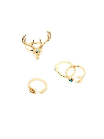 Gold Deer Head Ring Set 4PCS
