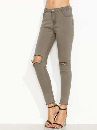 Grey Ripped Raw Hem Ankle Denim Jeans