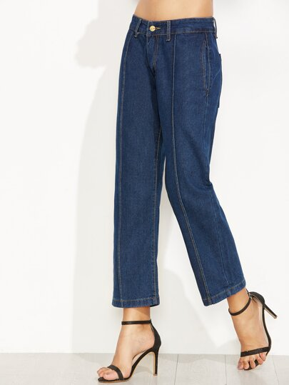 Blue Stitch Detail Straight Jeans