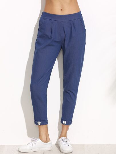 Blue Elastic Waist Ankle Jeans