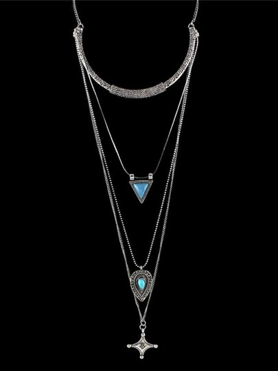Antique Silver Indian Design Multilayers Imitation Turquoise Long Chain Necklace
