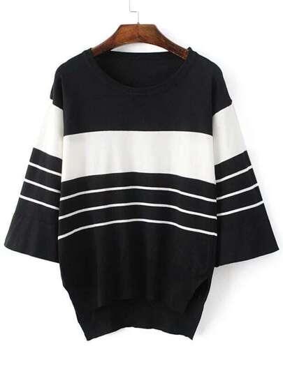 Black Striped Split Side High Low Knitwear