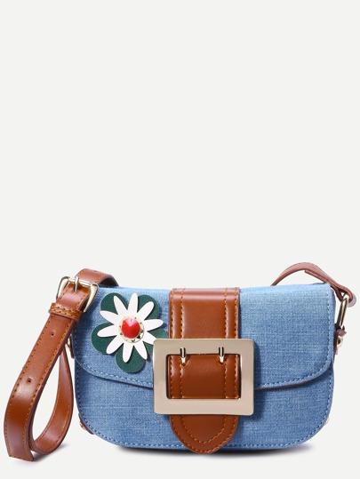 Light Blue Flower Embellished Denim Crossbody Bag