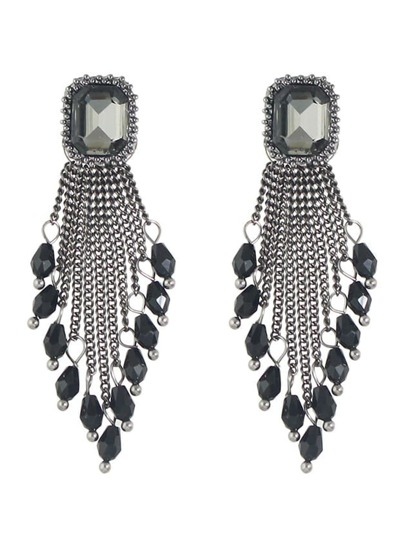 Black Rhinestone Beads Chain Chandelier Earrings