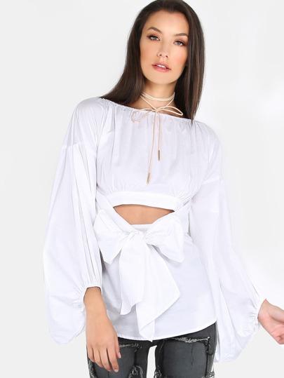 Open Shoulder Lantern Sleeved Blouse WHITE