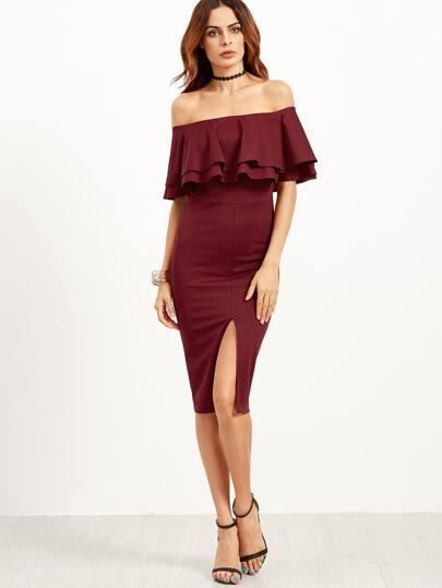 Burgundy Slit Front Off The Shoulder Ruffle Dress