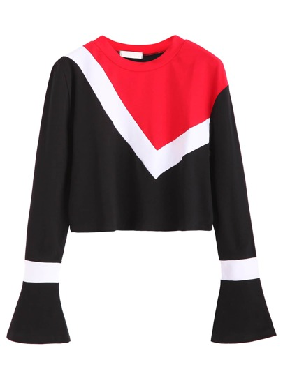 Color Block Bell Sleeve Crop T-shirt