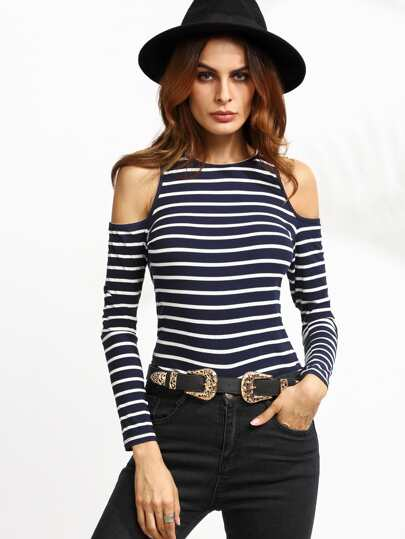 Navy Striped Open Shoulder Ribbed T-shirt