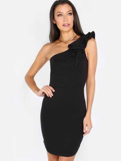 One Shoulder Ruffle Mini Dress BLACK