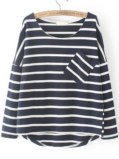 T-Shirt à rayure à l'épaules laissés avec dentelle à la base avec poche -marine
