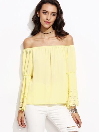 Yellow Bell Sleeve Eyelet Scallop Blouse