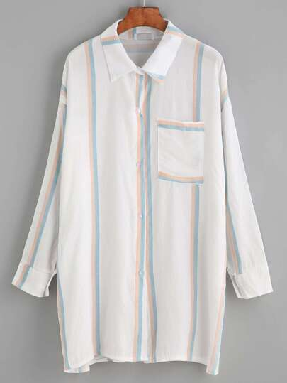 White Vertical Striped Drop Shoulder Pocket Shirt