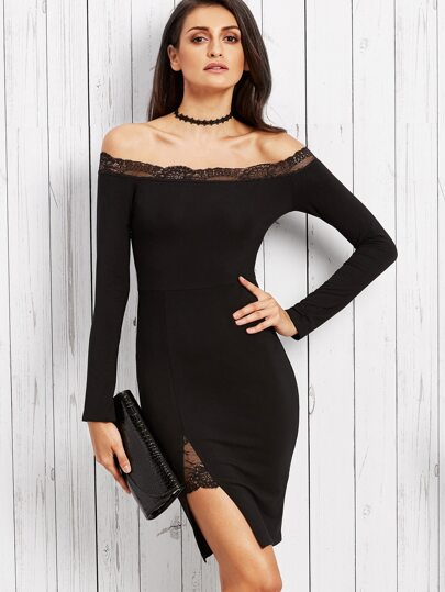 Black Lace Trim Off The Shoulder Slit Sheath Dress