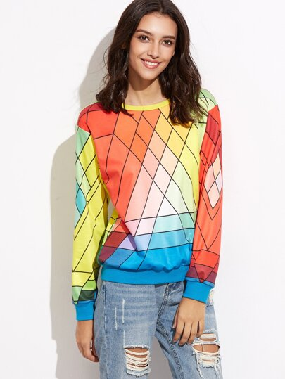 Multicolor Geometric Print Drop Shoulder Sweatshirt