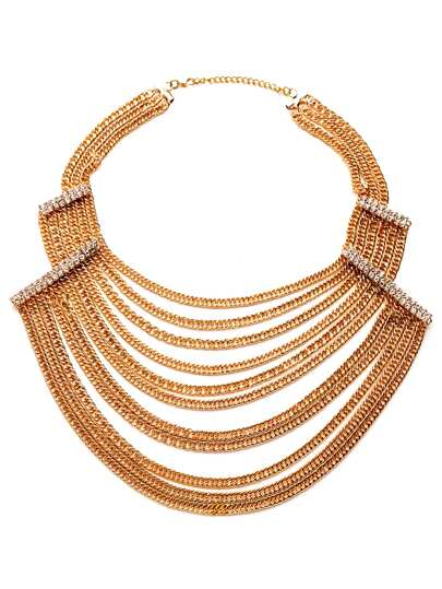 Gold Plated Layered Rhinestone Statement Necklace