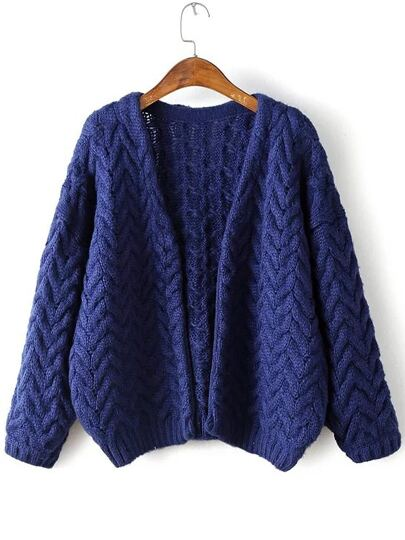 Navy Open Front Cable Knit Loose Sweater Coat
