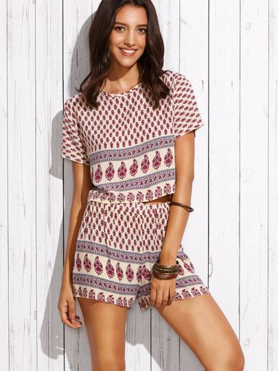 Apricot Ornate Print Top With Shorts
