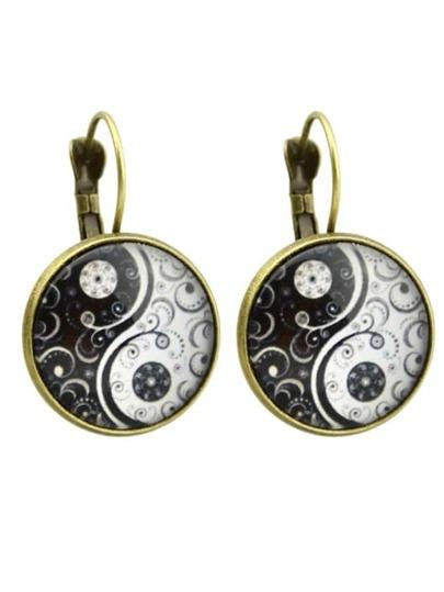 Bronze Gothic Flower Imitation Gemstone Hoop Earrings For Women