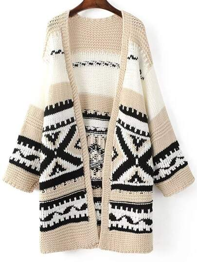 Khaki Tribal Pattern Drop Shoulder Long Sweater Coat