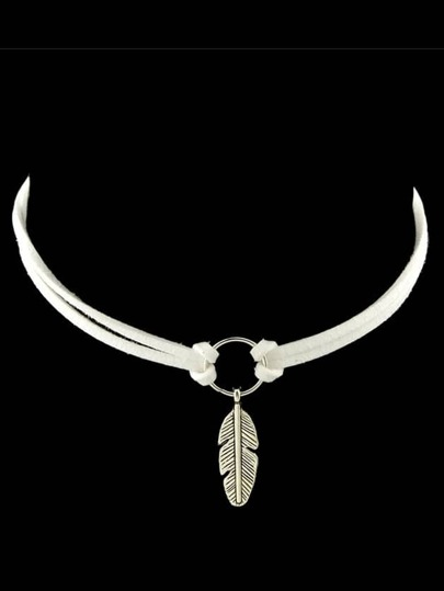 White New Coming Feather Pendant Pu Leather Choker Necklace