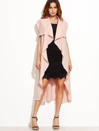 Lapel Tie Waist Sleeveless Long Outerwear