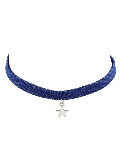 Jeans Choker Collar Necklace With Star Pendant