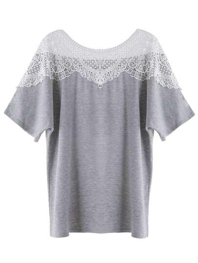 Heather Grey Contrast Lace Crochet T-shirt