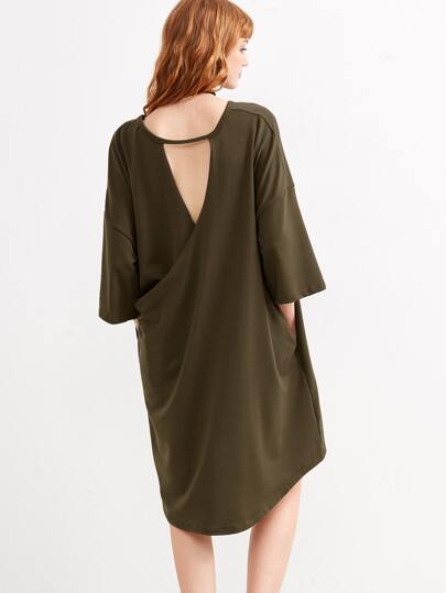 Army Green Wrap Back High Low Shift Dress