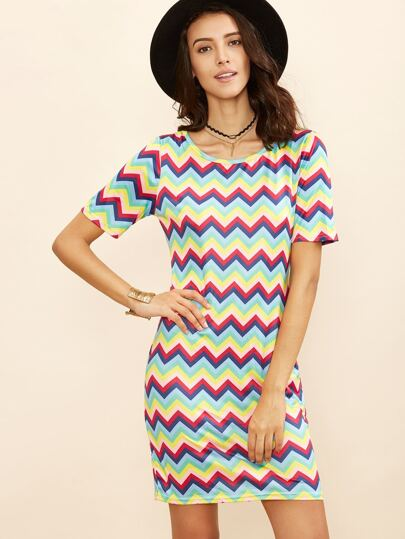 Chevron Pattern Sheath Dress