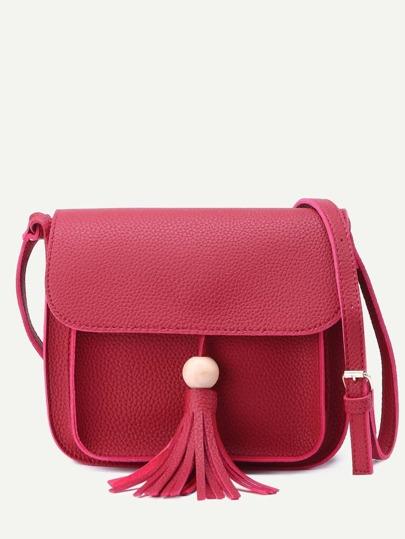 Burgundy Pebbled PU Tassel Trim Flap Shoulder Bag