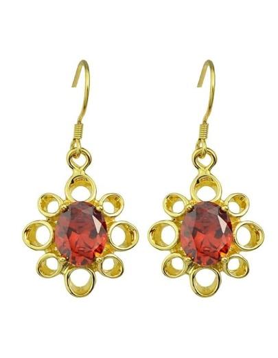 Gold Drop Stone Earrings