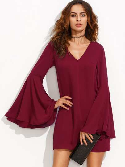 Burgundy V Neck Ruffle Long Sleeve Shift Dress