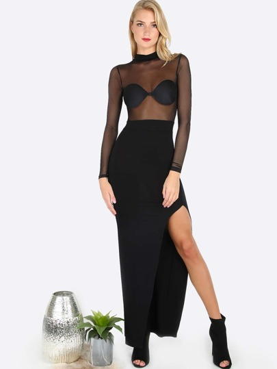 Mesh Slit Maxi Dress BLACK