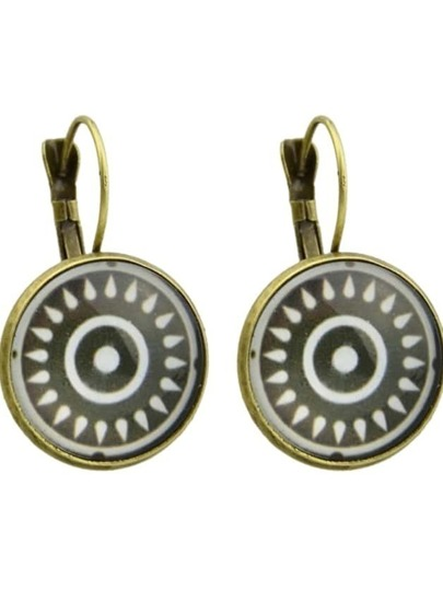Bronze Ethnic Design Sun Pattern Round Earrings