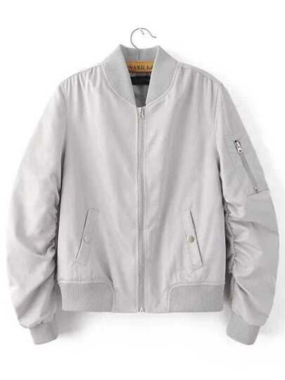 Grey Zipper Up Flight Jacket With Pockets