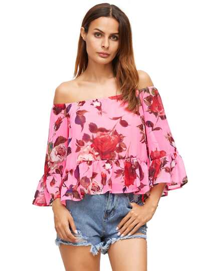 Peach Red Floral Off The Shoulder Blouse