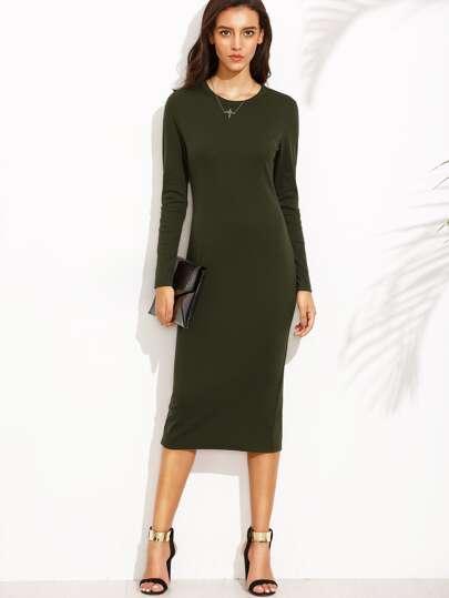 Army Green Split Back Long Sleeve Sheath Dress