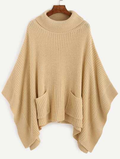 Apricot Turtleneck Dual Pocket Front Poncho Sweater