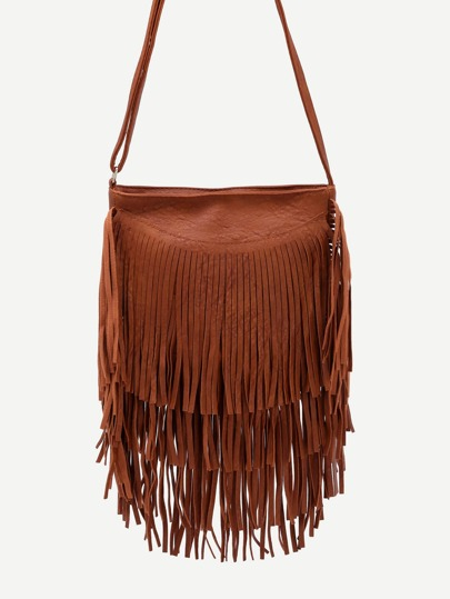 Brown Faux Leather Fringe Zipper Shoulder Bag