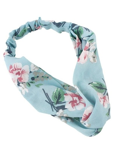Blue Beach Style Flower Elastic Headband For Women