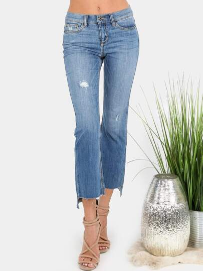 Raw Cut Ankle Flare Grazer Pants DENIM