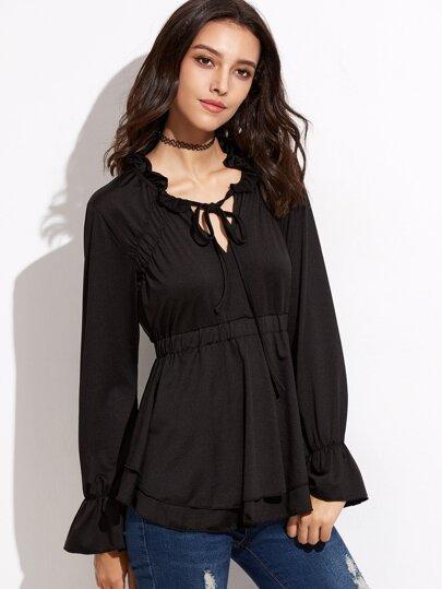 Black Tie Neck Bell Sleeve Tiered Peplum T-shirt