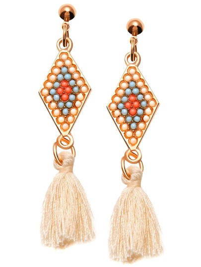 Beige Tassel Geometric Beaded Drop Earrings