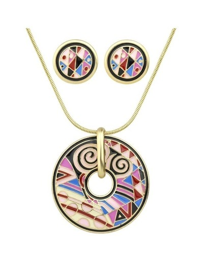 Winered Geometric Pattern Round Necklace Earrings Set