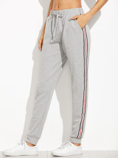 Side Stripe Drawstring Jersey Pants