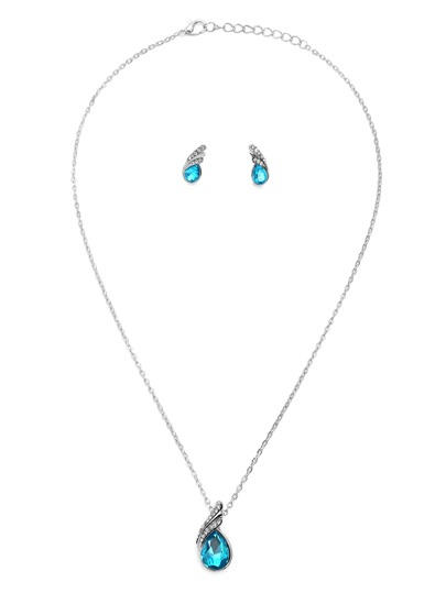 Blue Rhinestone Water Drop Jewelry Set