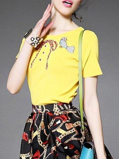 Yellow Birds Embroidered Bowknot Beading Knit Sweatshirt