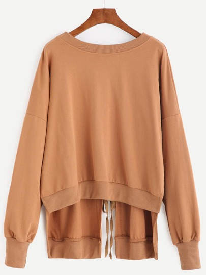 Khaki Drop Shoulder Split Tie Back Dip Hem Sweatshirt